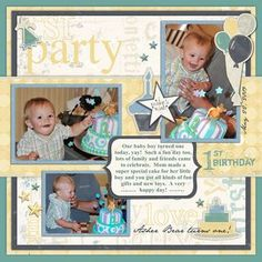 First Birthday photo book layout designed by Jenny Bingham; Artwork from Creative Memories: Rugged Baby Boy Celebrate Additions, Tag digital Shapes; Software; Storybook Creator; Fonts: Jane Austen;  click here for details and instructions: http://projectcenter.creativememories.com/digital/2011/05/rugged-baby-boy-celebrate-digital-scrapbook-layout-idea.html