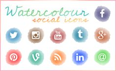Watercolour Social Icons - free download