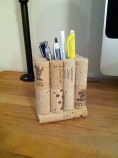 Wine Cork Pencil & Pen Holder. This is an etsy listing but easily copied