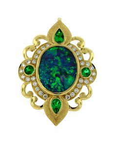 Black Opal with Emeralds and Diamonds.
