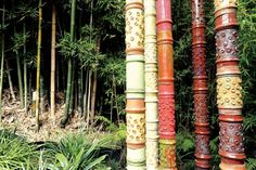 Bamboo-like totems with bamboo in the background - Stan Bitters 10.jpg