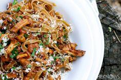 Tagliatelle with chanterelle mushrooms in a white wine sauce #recipe
