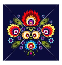 Folk pattern with flowers vector - by Bridzia on VectorStock®