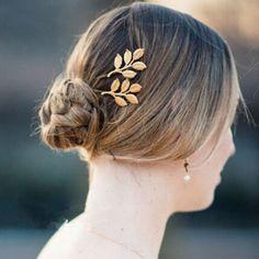 classic gold leaf wedding bridal hair clips EWAHP050
