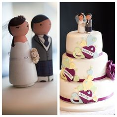 Wooden cake toppers with kilt by Love on Top. Love this cake.