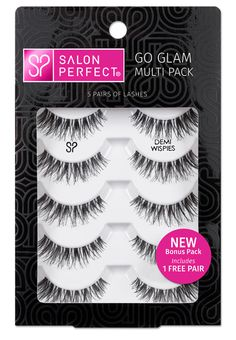 Salon Perfect Go Glam Multi Pack Lashes, Demi Wispie, 5 Pairs Image 1 of 2 Perfect Eyelashes, Makeup Over 50, For Lash, Types Of Curls, Perfect Makeup, False Lashes, Natural Texture, Makeup Cosmetics