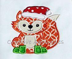 Santa Fox Christmas Digital Machine Embroidery by Creativeapplique