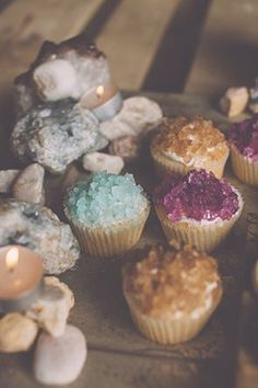 Magical looking cupcakes using rock candy. Rock candy! What a good idea!! Use on doughnuts!!!