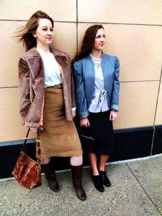 Faux-fur jacket, tan skirt, white top, purses, grey blazer, lavendar top, gray skirt, black shoes