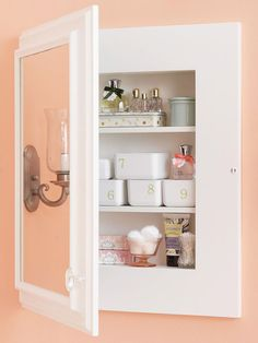 Employ ceramic baking dishes, small bowls, jelly jars, even footed dessert dishes to fit the shallow shelves of a vanity or medicine cabinet. Affix number stickers on identical food-storage containers so you can quickly identify what's inside.