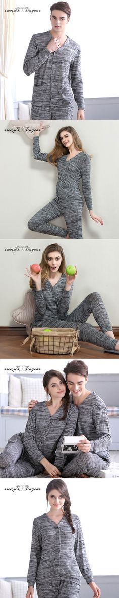 Tinyear new arrival winter casual home wear big size full sleeve round neck dark grey night wear pijamas set free shipping