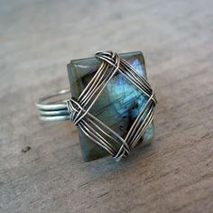 labradorite wire ring