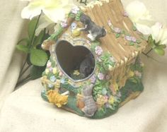 """Vintage The San Francisco Music Box Company,Cats on a Moving Carousel in a Ceramic Birdhouse, """"Close to You"""" Tune, #VB7091 by ckdesignsforyou. Explore more products on http://ckdesignsforyou.etsy.com"""