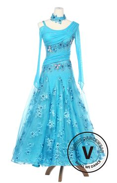 Handmade Ballroom gown for competitions and major dance events. Every dress is customized and detailed to your preference! Colors can be changed as well as sleeve lengths free of charge. Swarovski stones can be added for an additional fee!  Shop now at www.venusdancewear.com
