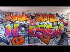 Graffiti time lapse of Music Room mural - YouTube