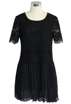 Pleated Lace Chiffon Dress in Black - Retro, Indie and Unique Fashion
