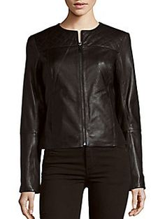 Dawn Levy - Cropped Leather Jacket
