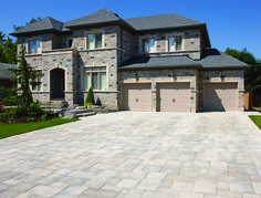 Many of our masonry products are designed to be integrated with our range of pavers, walls and steps from Oaks Landscape Products. This beautiful home combines our Stone: Vivace, Siena & Charcoal with one of our Pavers: Villanova, Champagne to deliver a modern and clean aesthetic to this build. #integratedproducts Home Photo, Siena, Beautiful Homes, Brick, Photo Galleries, Mansions, Landscape, House Styles, Gallery
