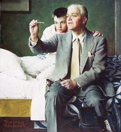 Norman Rockwell, Doctor and Boy Looking at Thermometer, 1954, Oil on canvas, Collection of Pfizer Inc., Niles, IL.
