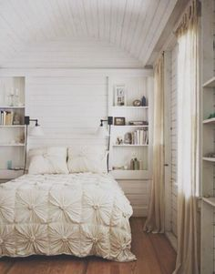 ruffled duvet cover. Love the white soft bedding & the calmness of the room.
