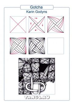 Creative Doodling: tangle pattern Gotcha // Zentangle // Zendoodle// doodle art // pen and ink drawing #tanglepattern #zendoodle