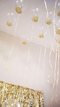 Lovely Gold Glitter Confetti Balloons
