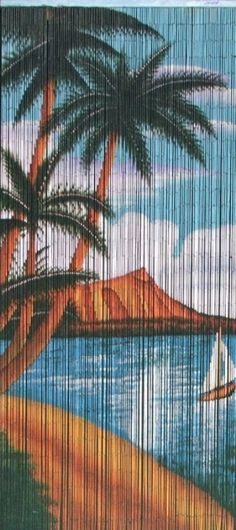 "Sailboat Print Beaded Bamboo Curtain, 36""W x 78""H, BBC-36S"