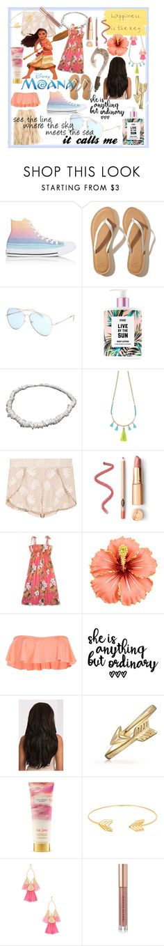 """moana"" by que2001 ❤ liked on Polyvore featuring Converse, Hollister Co., Full Tilt, Avon, Eberjey, Bling Jewelry, Victoria's Secret, Lord & Taylor, Ettika and Kevyn Aucoin"