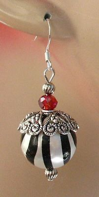 Silver Zebra Print Beaded Earrings Handmade Jewelry Accessories Fashion