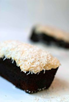 Chocolate coconut mini loaf cakes ... look super yummy! I'd like to make these as cupcakes.