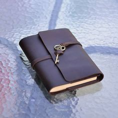 Refillable Leather Journal With Key, Handmade, Sketchbook, Blank Notebook, Diary, Book Cover, Brown, Vintage, A5, With Gift Box