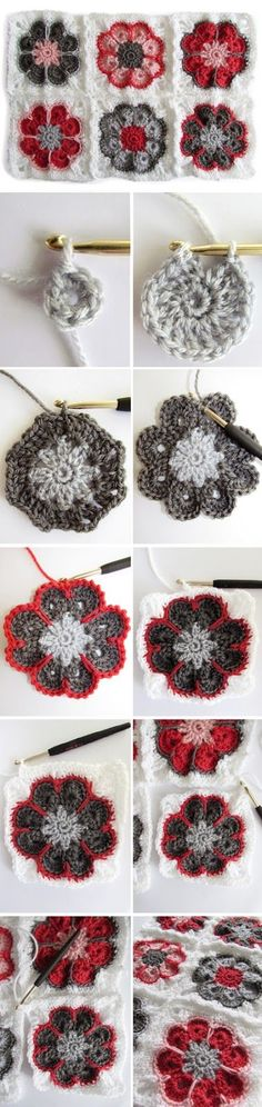 Granny Square SOMALIA tutorial♪ ♪ ... #inspiration #crochet #knit #diy GB
