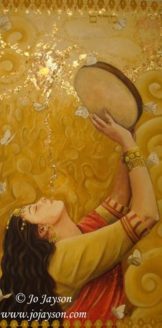 Miriam~ by Jo Jayson. Prophetic art painting praising the Lord with cymbal and dance.