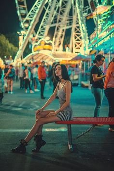 Funfair Skinny Girl Portrait Striped Dress Red Bench / Fashion Photography by Bobby Vu