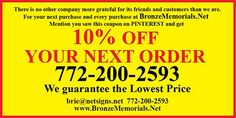 CUSTOM BRONZE PLAQUES, AWARDS and MEMORIALS mention our pins on PINTEREST and get 10% off coupon. Info@bronzememorials.net, or 772-924-0083 Call or email Bronze Plaques, 10 Off, Coupons, Awards, Memories, Memoirs, Coupon, Remember This