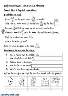 Grade 3 : FAL: Afrikaans eu, oe, ie, ei, ou Klanke - Interactive worksheet Worksheets For Grade 3, Spelling Worksheets, Free Printable Worksheets, Afrikaans Language, E Words, Afrikaans Quotes, Teaching Aids, Education Humor, School Subjects
