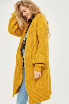 Longline Cable Knit Cardigan - New In Fashion - New In - Topshop Europe