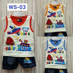 Kode: WS-03 Motif: Aroun The World Fast Varian warna: merah, orange, biru.  Kaos Singlet Celana jeans. . . ===================================== . Bagi yang memiliki anak atau keponakan yang masih BALITA, ada kaos dan celana lucu dan bergambar karakter kartun. Pas banget untuk dikasih kado ^_^  Kenapa beli di kami? . . * Bahan cukup tebal dengan warna-warna yang menarik :) . . * Nyaman dipakai pada saat santai, bahan katun yang tebal & tidak panas pada saat digunakan. Cocok banget buat…