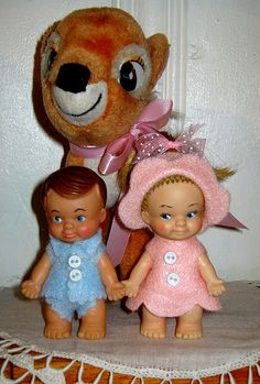 uneeda peewee dolls,Bambi Victoria's dolls. I made their outfits.