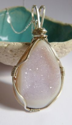 Druzy agate Sterling silver pendant Wire wrapped necklace