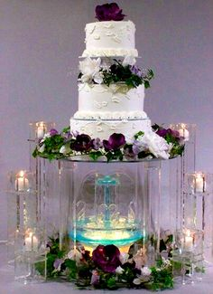 3 Tier Wedding Cake Structure with a fountain and candles