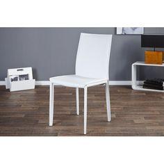 Magnifiquechaise blanchefaiteen cuir artificiel, avec des pieds solides en métal chroméparfaite pourun designélégant. Dimensions: 45cm x 90cm x 55cm (L...