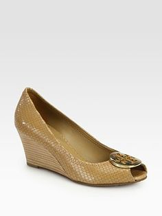 Tory Burch Sally Snake-Print Leather Wedge Pumps