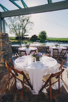 Simple, lovely outdoor reception tables | @lindsgomes | Brides.com