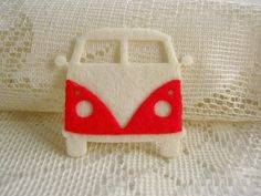 Felt applique, Iron on Applique Lovely White Red Volkswagen, vintage car kid, baby shower, bag supply, shirt decoration,scrapbook, card. $0.99, via Etsy.