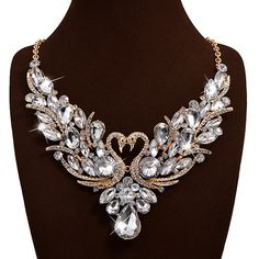 White Swan Decorated Bib Necklace