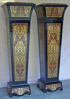 Pair of Marble Top Boulle Style Pedestals image 3