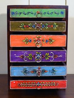 Hand Painted Six Drawer Chest - Sourced in India