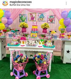 Shopkins theme Birthday Party Dessert Table and Decor