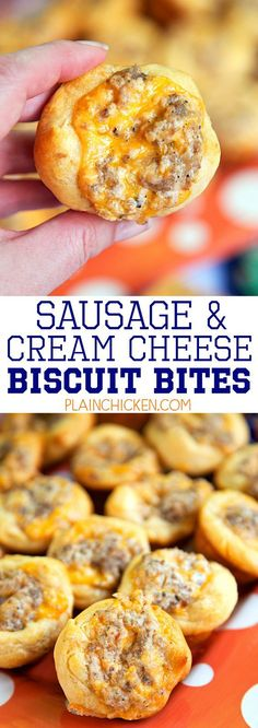 """""""Sausage and Cream Cheese Biscuit Bites (via Plain Chicken) - so GOOD! I'm totally addicted to these things! Sausage, cream cheese, Worcestershire, cheddar cheese baked in biscuits. Can make the sausage mixture ahead of time and refrigerate until ready to bake. Great for tailgating, breakfast and parties! Everyone loves this recipe!"""" 